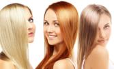Боядисване на коса с боя на клиента или кичури с фолио, плюс измиване с професионален шампоан и маска и оформяне