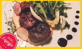 Салата или френска лучена супа, плюс агнешки кюфтенца или свински ребърца