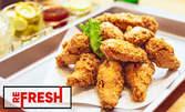 2 вида пилешки крилца - с масло, мед и бяло вино и с корнфлейкс, картофки Уеджис и 4 вида сос