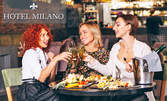 Куверт за 8 Март със салата, основно ястие, десерт и чаша вино