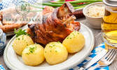 Пилешка пържола със спанак или свински джолан с картофи на фурна, плюс десерт