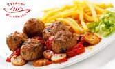 Обедно меню! Кокоша чорба, телешки кюфтенца с картофки и лютеница и мускетарско хлебче