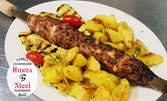 """1.2кг плато """"Дедовата шпага"""" със свинско и телешко, картофи соте и гриловани зеленчуци"""