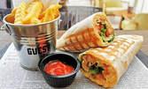 Комбо меню с тортила или суши фитнес хрупкаво пиле и салата Цезар