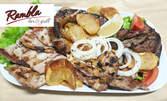 Плато на барбекю - котлетчета, наденица, свински дроб и пилешка пържола, плюс чипс и пърленка
