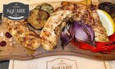 Пилешки бонфиленца на барбекю с гриловани зеленчуци