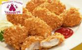 Пилешки флейки с корнфлейкс, плюс пържени картофки с чеснов сос