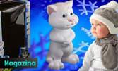Снежнобял говорещ котарат със сини очи и страхотни нови функции