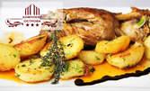 Бирено плато със свински ребърца, вурстчета, пилешки боздуганчета и печени пресни картофки