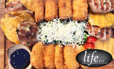 1.45кг плато със свинско филе, пилешки кюфтенца, хрупкави сиренца и броколи със синьо сирене
