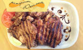 1.5кг плато на барбекю! Свински и пилешки пържоли, крилца и пресни пържени картофки