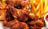 2.7кг плато на скара! Свински и пилешки пържолки, пилешки крилца, кюфтенца, пържени картофки и сосчета