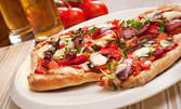 Голяма пица на пещ и десерт, по избор