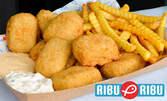 10 рибни хапки, 2 порции пържени картофи и 2 соса по избор - за вкъщи