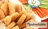 Цаца или пържени картофи, или пилешки пръчици с корнфлейкс и пържени картофи, плюс 2 бири