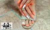 Маникюр с гел лак, плюс масаж на дланите на ръцете или спа педикюр с гел лак, плюс масаж на ходилата