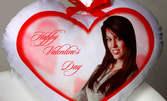 Луксозна възглавничка с формата на сърце и със снимка по ваш избор
