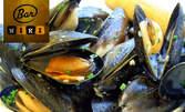 1кг вкусно хапване! Рибно плато с калмари, филе, хапки, лучени кръгчета и сосче, или миди натюр и вино Cycle