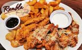 1.2кг плато с хрупкави изкушения - пилешки филенца с пармезан и корнфлейкс, топени сиренца със сладко, картофки и чесново сосче