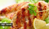 Микс пилешки филенца с пържени картофки и чеснов сос, плюс Зелена салата