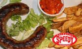 Домашен суджук на барбекю или печен свински джолан, плюс пресни картофки