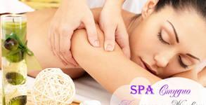 Болкоуспокояващ масаж на цяло тяло с магнезиево олио, плюс масаж на глава, рефлексотерапия на стъпала и шиацу
