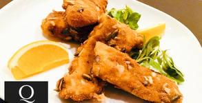 Панирана бяла риба с хрупкава коричка от ядки или Рибен бургер с пържени картофки и сосче