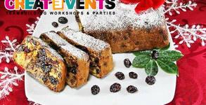 Плато с 30 или 60 парчета английски коледен кекс със сушени плодове, ядки, ром и пудра захар