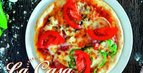 Фамилна пица по избор, или 4 сандвича панини с гарнитура пържени картофи и бутилка Coca Cola или бира