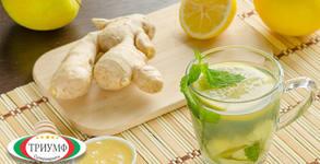 Половин литър фреш от лимон, ябълка и джинджифил
