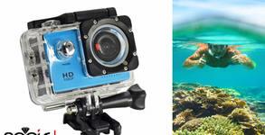 Водоустойчива екшън камера LLA, FullHD, с пълен комплект аксесоари