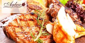 1кг пилешко или свинско месце на скара, плюс 2 вида сос и 2 парчета домашна торта