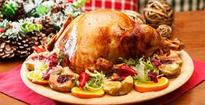 За трапезата на Коледа и Нова година! Печена пълнена пуйка, с гарнитура печени картофки с розмарин и масълце - около 6кг