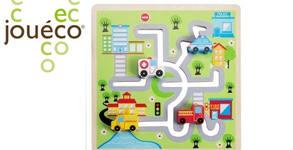 Подарък за детето! Дървен лабиринт с логическа игра Jouéco - Градът или Ферма