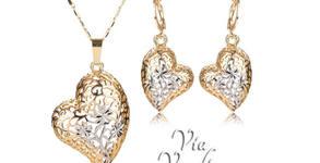 """Комплект бижута """"Моето сърце"""" - колие и обеци с 18К жълто златно покритие и австрийски кристали"""
