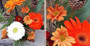 "Икебана ""Цветна феерия"": гербери, хризантеми, шишарки, свежи цветя, лист аспадистра и папрат"