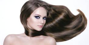 Полиране на коса с полировчик за премахване на цъфтежа, плюс измиване, маска и изправяне