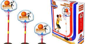 Детски комплект с регулируем баскетболен кош и топка
