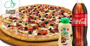 Фамилна пица Асорти 1800гр, сос Аладин 480мл, плюс 1.5л Кока Кола и безплатна доставка до адрес