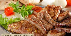 Хапване по сръбски! 1.3кг плато с кебапчета, ребърца, колбасица, бекон и пържени картофи