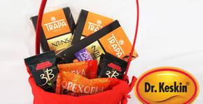 """Подаръчна кошница с шоколади Trapa, ореховки """"Д-р Кескин"""" и сурови барчета 3В"""