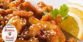 1.5кг вкусно плато - пилешки флейки с корнфлейкс и сусам, пресни пържени картофки и млечен сос