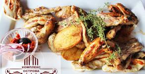 1.6кг апетитно плато! Свинско и пилешко месце на барбекю, плюс печени картофи и лютеница