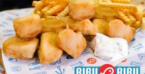 Храна за вкъщи! 10 броя хрупкави хапки от хек филе, плюс картофи и сос тартар