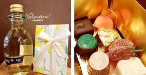 Шоколадови бонбони асорти, плюс шоколадова фигурка или френско вино по избор