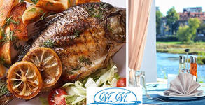 Прясна рибка на скара по избор - бакаляро, лаврак или ципура, оскусена с босилекова паста