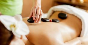 Лечебен масаж на гръб, плюс терапия с вулканични камъни или процедура с ултразвук, и изготвяне на програма с упражнения