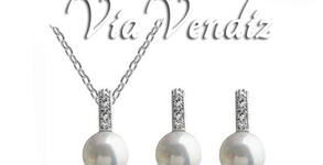 """Стилен комплект бижута с перли """"Симпъл пърл"""" - колие и обеци с бяло или жълто златно покритие"""
