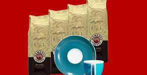 Сет Memento - 4 пакета кафе Мemento® espresso и 1 брой чаша с чинийка в цвят по избор