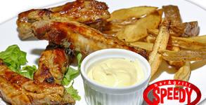 Свински ребърца на барбекю с пържени картофки или печен джолан за компания с гриловани зеленчуци